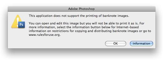 Adobe Photoshop Warning Message